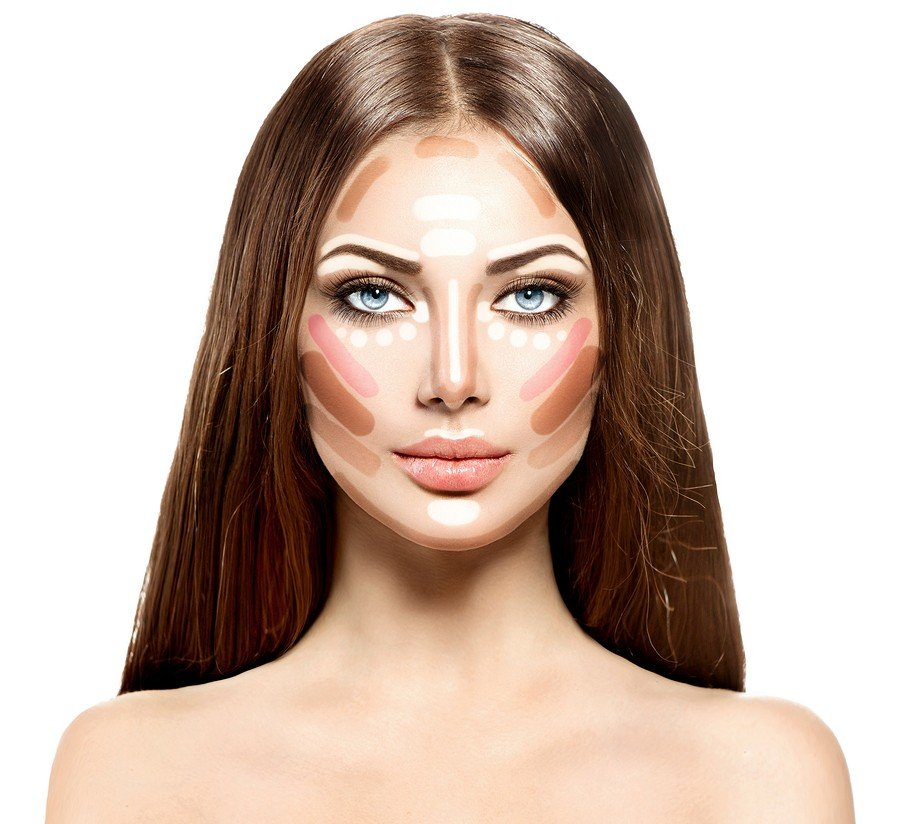 Make up woman face. Contour and Highlight makeup. Professional C